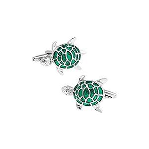 Aeici 1 Paar Manschettenknöpfe Herren Graviert Manschettenknöpfe Edelstahl Schildkröte Manschettenknopf Silber Grün