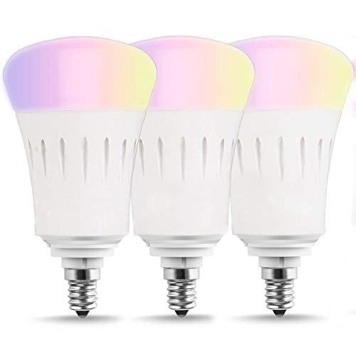 Wifi Smart Birne LED, Mehrfarbige LED Dimmbare Lampe 7W RGB Glühbirne,Smartphone gesteuert Tageslicht & Nachtlicht, 60W Equivalent-Lampen-LED Drahtlose Arbeitet mit Alexa und Google Home,E14