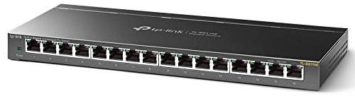 TP-Link TL-SG116E 16-Port Gigabit Switch Easy Smart (Plug und Play, Gigabit Ports, Metallgehäuse, VLAN, QoS) (Tp-link Gigabit-switch)