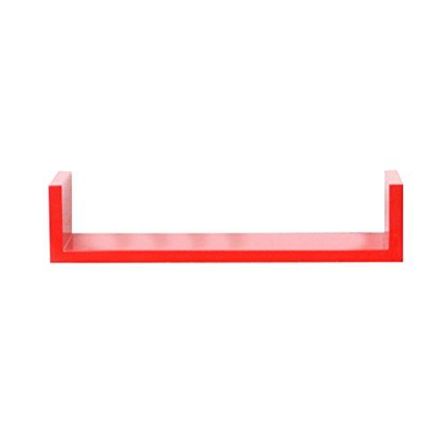 OUNONA Floating Wandregale U Form Wand montiert Holz shlef für Schlafzimmer Wohnzimmer Küche und Büro 45x 15x 1.6cm (rot) (Schwarzes Finish Bücherregal)