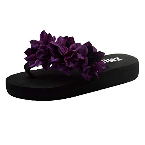 Xmiral Slippers Sandals Women Muffin Wedge Home Bathroom Beach Flip Flops Shoes Sole Eva Heel High 3 cm(5 UK,Purple)