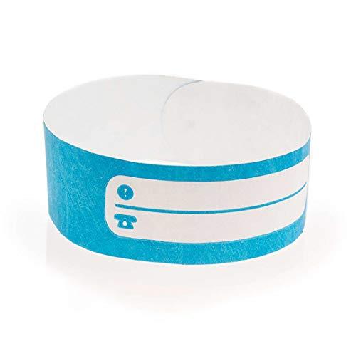 Fun Fan Line- Confezione da 100 braccialetti di identificazione tyvek con spazio di scrittura. Bracciali di eventi impermeabili e personalizzabili. (Blue)