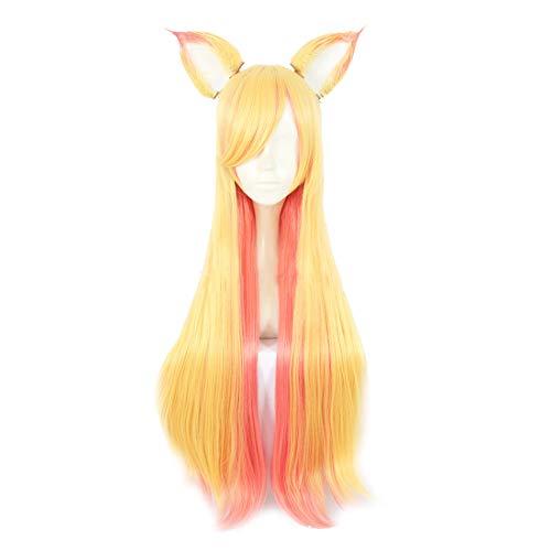 Star Kostüm Cosplay Fox - YKJ Anime Cosplay Kostüm Gefälschte Ohr Farbverlauf Lange Haare Perücke Halloween Perücke,Gradient