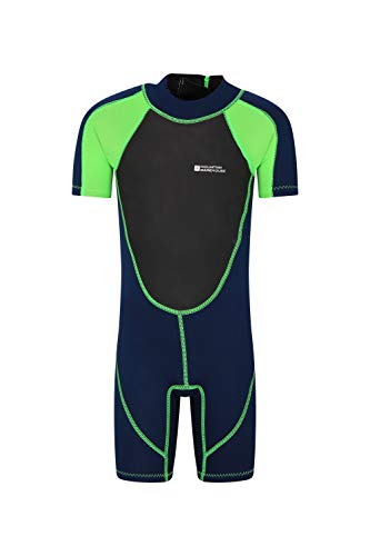 Mountain Warehouse Junior kurzer Kinder-Neoprenanzug - Sommer-Nasstaucheranzug, Leichtlauf-Reißverschluss, Flachnähte, Verstellbarer Nacken - für den Sommer, zum Tauchen Grün 116 (5-6 Jahre)