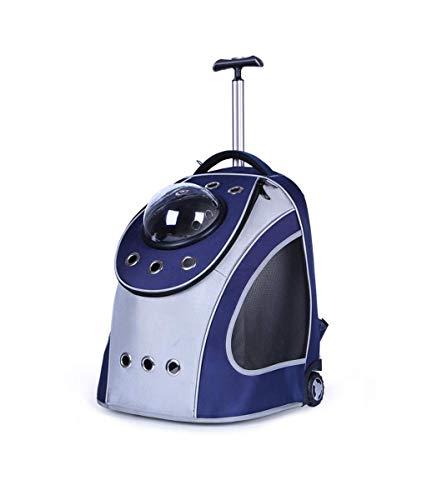 LXYUCWB Pet Bag Breathable Trolley Multifunktions-Rucksack Grau-Blau (geeignet für 10 kg Katzen und Hunde)