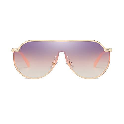 Splrit-MAN Mode Sonnenbrille Retro Goggle Metallrahmen Classic Eyewear Übergroße Sonnenbrille Flat Top Rahmen UV400 für Herren und Damen Fahren Reisen