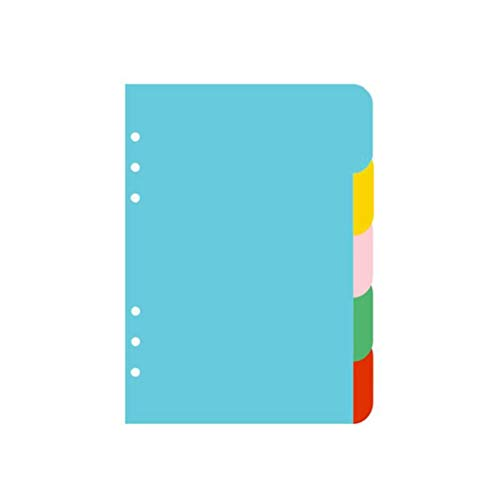 stobok 5 Colors Tab Dividers A5 Index Classified Lables 6-Holes Colorful Filler Project Sorter Pages for Ring Binders Planner Notebook (A5) (A5 Binder)
