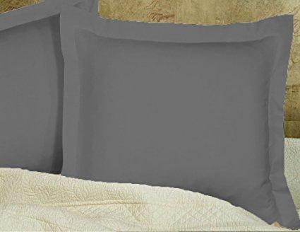 Aarohi Häuser Kissenhülle/Kissenbezug 500TC Euro/europäischen/Square/Continental- euro26X 26100% ägyptische Baumwolle Dunkelgrau Solid-Set von 2Kissenhülle -