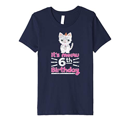 Kinder Kinder süße Kätzchen Kitty Cat 6. Birthday Girl Shirt Kind 6 Jahre