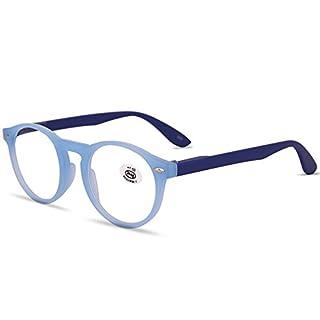 VEVESMUNDO® Lesebrillen Damen Herren Retro Runde Lesehilfe Sehhilfe Arbeitsplatzbrille Nerdbrille Hornbrille mit Stärke Schwarz Leopard Blau Rot Brau (+2.5, Blau)