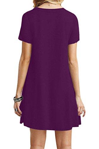YMING Femme Robe Manches Courtes en vrac Chemise Loose longue T-Shirt Midi Robe 24 Couleur,XS-XXXXL(34-52) Violet foncé
