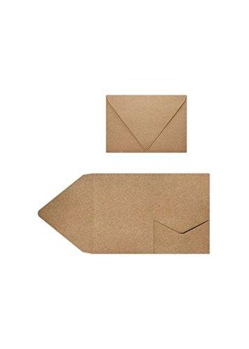 A7Pocket Einladungen (5x 7)-18PT. Lebensmittels Tasche braun (50Stück) | perfekt für Einladung Suiten, Hochzeiten, Ankündigungen, VERSAND Karten, elegante Events | bedruckbar | a7pktgb-50
