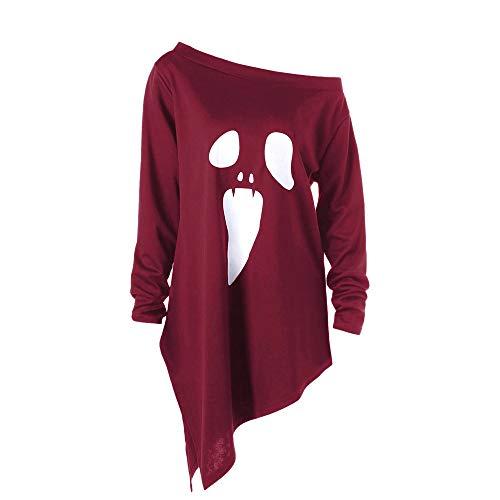 OverDose Damen 2018 Geist-Art-Frauen-Halloween-Lange Hülsen-Geist-Druck Clubbing-Bar-Partei-Sweatshirt-Pullover-Oberseiten-Bluse