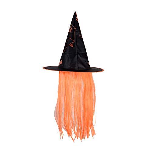 (SINOTECHQIN Halloween-Hexenhut, Kostüm-Accessoire, lustiges Party-Accessoire, Halloween, Hexenhut, Mütze, Kostüm, Orange with Hair, as Shown)