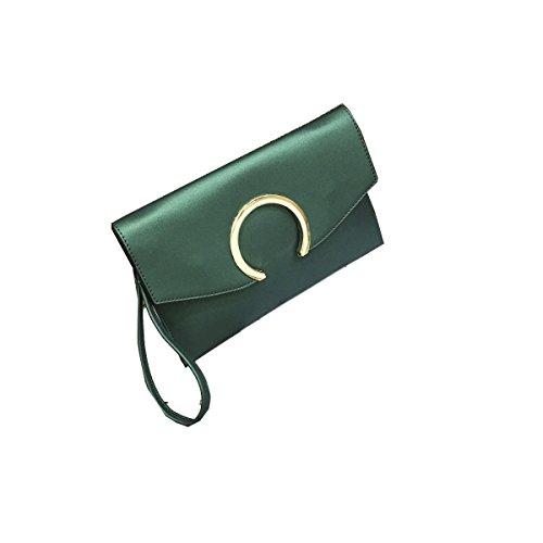 Solido Pacchetto Della Busta Di Colore Signora Clutch Messenger Bag Green