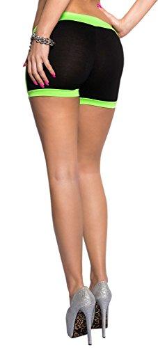 Koucla avec bords neonfarbenen short pour femme taille unique (34–38) Vert - schwarz neongrün