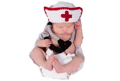 Matissa Neugeborenes Baby Mädchen/Jungen häkeln Stricken Kostüm Fotografie Prop Outfits (Arzt/Krankenschwester)