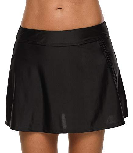 Anwell Damen Übergröße hohe Taille Rock Tankini Unterhose Röcke mit Slip Schwarz 2XL