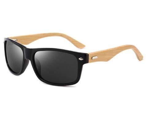 WENZHEN Rechteckige Bamboo Leg Sonnenbrille, Natur schwarz