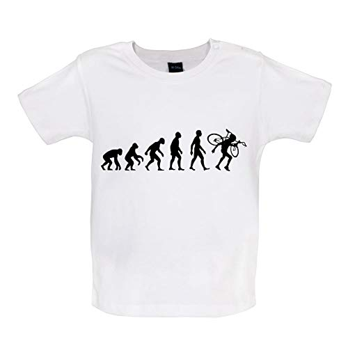 Baby T-Shirt - Evolution of Man - Cyclocross - 8 Farben - 3-24 Monate - Weiß - 12-18 Monate -