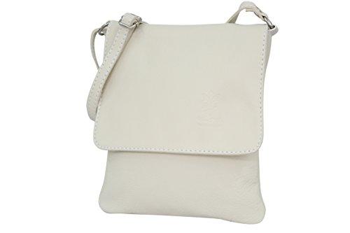 AMBRA Moda Italienische Ledertasche Schultertasche Crossover Umhängetasche Nappaleder Damen Kleine Tasche NL602 (Creme) -