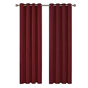 Deconovo Tende Oscuranti Termiche Isolanti Tende Finestre Soggiorno Moderne con Occhielli 140X290 CM Rosso Scuro 2 Pannelli
