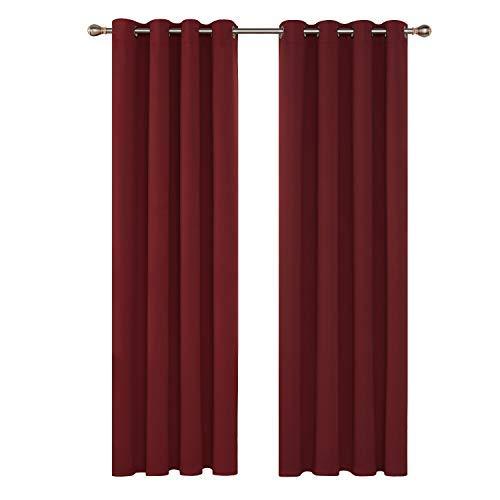 Deconovo Tende Oscuranti Termiche Isolanti con Occhielli per Casa Moderne 140x260 CM Rosso Scuro 2 Pannelli