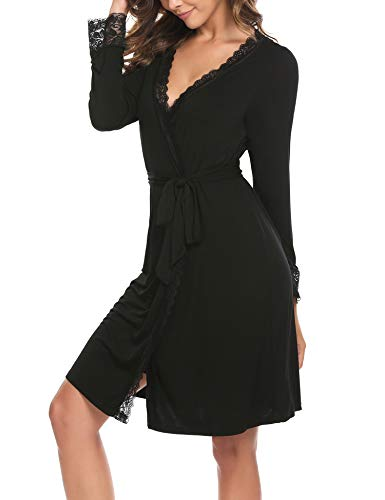 Morgenmantel Damen Nachthemd Schwangere V-Ausschnitt Nachtwäsche Bademantel Spitze Nachtwäsche Kimono Saunamantel Schlafanzug