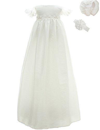Blume Besonderen Anlass Kleid (AHAHA Baby Mädchen Lange Taufkleider Besondere Anlässe Taufe Festlich Kleid mit Hut und Stirnband)