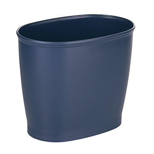 iDesign 93734EU Kent Ovaler Abfalleimer Papierkorb, für Bad Küche, 30,5 x 20,3 x 25,4 cm, marineblau/navy, plastik (Navy Papierkorb)