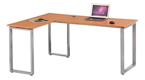 hjh OFFICE 674150 Eckschreibtisch WORKSPACE Basic Buche/Silber Schreibtisch in Holzoptik mit Stahl-Gestell 165 x 120 cm