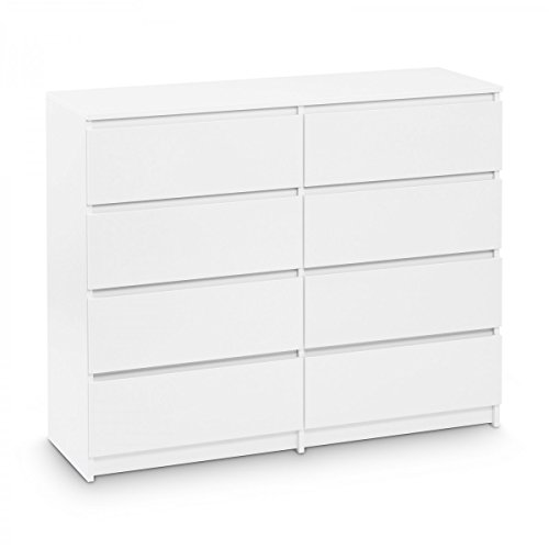 Galdem Kommode mit 8 Schubladen 120cm Sideboard Mehrzweckschrank Anrichte Diele Flur Esszimmer Wohnzimmer Weiß