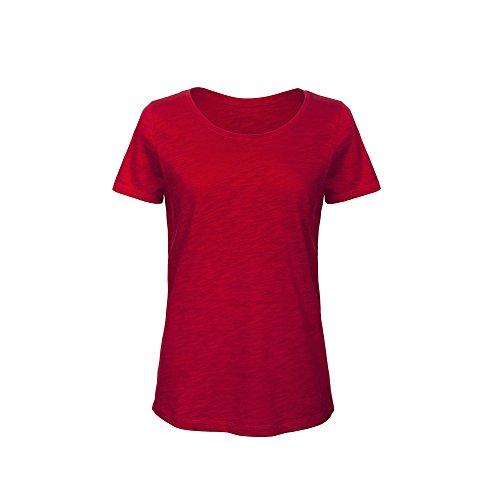 B&C - Camiseta de manga corta de algodón orgánico para mujer (XS/Rojo chic)