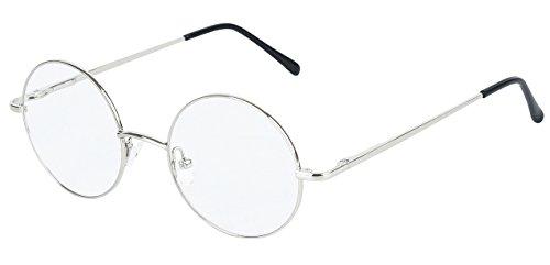 88c8d779af Agstum Round Retro Metal Prescription Ready Glasses Frame Clear Lens  (Silver