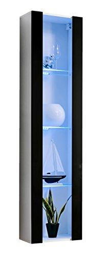 Muebles bonitos vetrinetta moderna sospesa modello capri bianco nero con led - larghezza: 40cm x altezza: 170cm x profondità: 29 cm lettiemobili soggiorno