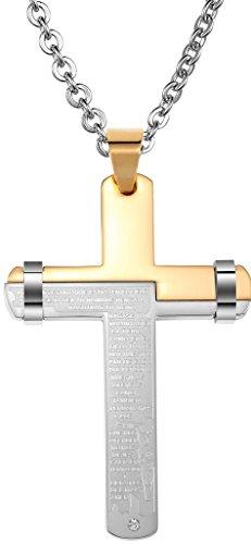 AnaZoz Edelstahl Halskette Kreuz Kruzifix Gebet Gravieren 4.5 * 6,7 CM Kette Gold Männer
