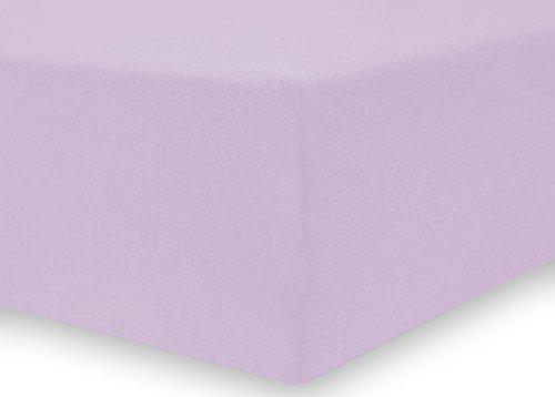 DecoKing 18934 80x200-90x200 cm Spannbettlaken lila 100% Baumwolle Jersey Boxspringbett Spannbetttuch Bettlaken Betttuch Lilac Nephrite Collection - 4