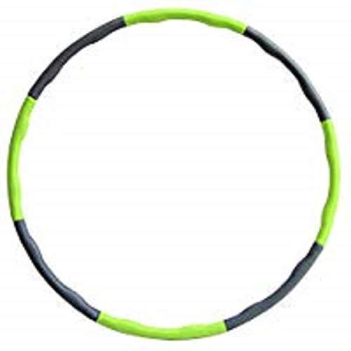 Hula Hoop zur Gewichtsreduktion,Reifen mit Schaumstoff 1,3 kg Gewichten Einstellbar Breit 48-88 cm beschwerter Hula-Hoop-Reifen für Fitness (4 Knoten Grün + Grau) mit Mini Bandmaß (Grün)