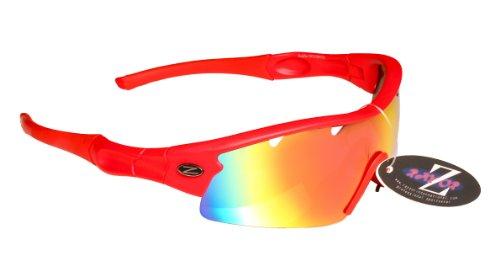Rayzor professionnel léger UV400 Rouge Sport Wrap Golf Lunettes de soleil, avec un 1 Piece ventilé Rouge Iridium miroir anti-éblouissement Lens.