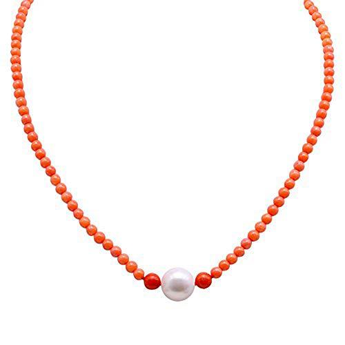 jyx korallenkette 3,5-5,0 mm echtem rund orange Coral Perlen Halskette mit weiß Pearl Strand 45,7 cm korallenkette, rot