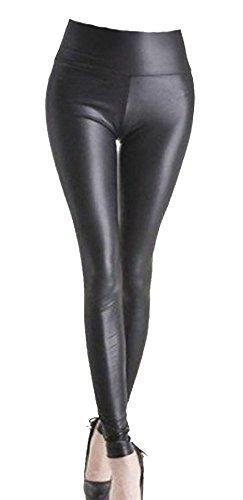 0a2d9a0dbbf Womens Ladies Pvc Leather High Waist Pu Leggings Wet Look Stretch Trousers  Pants (ml 12-14
