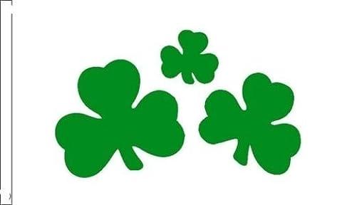Trèfle irlandais St Patrick Drapeau Convient pour bateaux à manches 45cm x 30cm + 59MM Bouton Badge