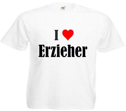 """T-Shirt """"I Love Erzieher"""" für Damen Herren und Kinder in Weiß Weiß"""