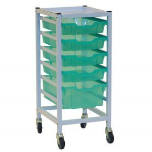 Gratnells hospital-grade single compact medical trolley with storage trays by Gratnells