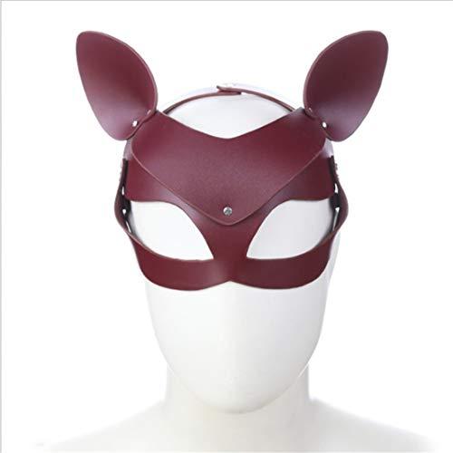 FELICIOO Fox und Katze Maske Cosplay Zubehör Maske Sex Spielzeug Masked Masquerade Kostüm Maske für Paare Liebhaber Halloween Karneval Party (Color : Wine red, Size : Fox cat with Ear mask) (Halloween-kostüme Paare Masquerade)