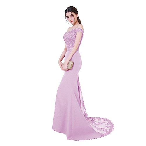 Aiyana Damen Elegantes V-Ausschnitt Rueckenfrei Kleid Bodenlang Langes Spitze Schulterfrei Rosa Meerjungfrau Abendkleid Lila