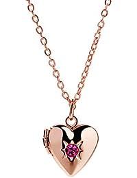 Beydodo Edelstahl Damen Halskette mit Anh/änger Herz mit Engel Silber Kette mit Medaillon zum /Öffnen