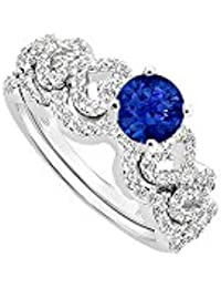 Sapphire and Diamond Engagement Ring with Wedding Band Set 14K White Gold 0.75 CT TGW