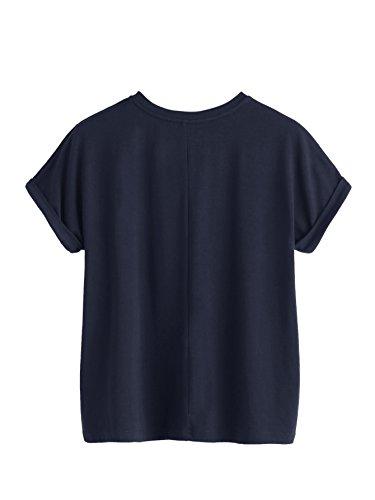 Romwe Damen T-Shirt mit Rosen-Stickerein Locker Kurzarm Shirt Marineblau