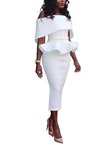 Boutiquefeel Damen Schräge Schulter Fold-over Schulter Peplum Bodycon Kleid Weiß S